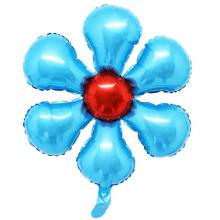은박꽃풍선50센티 라이트블루 꽃모양 은박 호일 장식