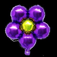 은박꽃풍선30센티 퍼플 꽃모양 은박 호일 장식