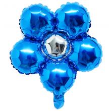 은박꽃풍선30센티 사파이어블루 꽃모양 은박 호일 장식