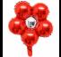 은박꽃풍선30센티 레드 꽃모양 은박 호일 장식
