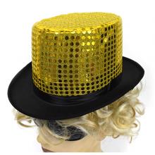 고급마술사모자(골드스팡글) ★ 파티모자 파티소품 신사모자 반짝이 골드 모자