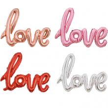 이니셜은박풍선 필체LOVE [로즈골드,레드,핑크,골드,실버] 알파벳 호일 풍선