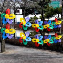 스카이바람개비10m 오색가랜드 주유소 정원 캠핑장식 홍보용바람개비 개업입구장식