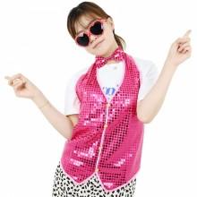 반짝이조끼 성인 핑크 아동 반짝이옷 무대 파티의상