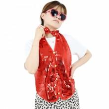 반짝이조끼 레드 성인 아동 반짝이옷 무대 파티의상