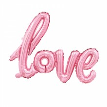 라지쉐잎 필기체 러브 핑크 이니셜 글자풍선 웨딩 프로포즈 생일파티 은박 호일 풍선