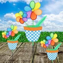 정원용바람개비 꽃화분(블루) 어린이집꾸미기 캠핑바람개비 정원장식