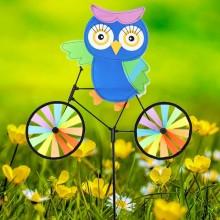 정원용바람개비 자전거타는부엉이(파랑) 어린이집꾸미기 캠핑바람개비 정원장식