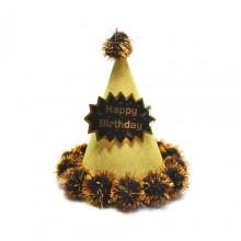 글리터솜방울고깔모자(골드) 생일파티용품 생일모자