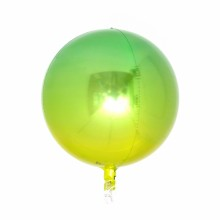 옹브레 오브(Orbz) 옐로우앤그린 헬륨 은박 미러호일풍선