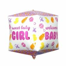 큐브(Cubez)스위트걸 은박 헬륨 호일 사각 생일 풍선