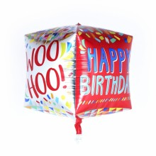 큐브(Cubez) 행복한생일 은박 헬륨 호일 사각 풍선