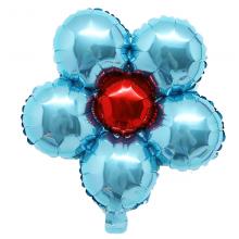 은박꽃풍선30센티 라이트블루 꽃모양 은박 호일 장식