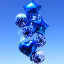 컨페티은박풍선세트14입(파티블루) 투명풍선 은박 생일축하 홈파티 브라이덜샤워