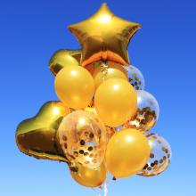 컨페티은박풍선세트14입(파티골드) 투명풍선 은박 생일축하 홈파티 브라이덜샤워