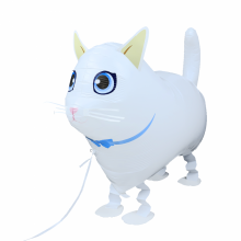 산보풍선 흰색고양이 산책 동물풍선 끌고다니는풍선