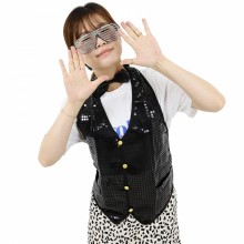 반짝이조끼 블랙 성인 아동 반짝이옷 무대 파티의상