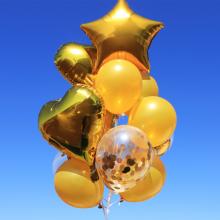 컨페티 헬륨풍선 14입 골드 (퀵배송)