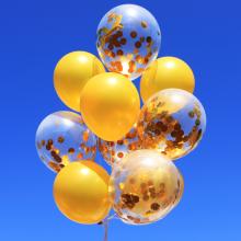 컨페티 헬륨풍선 10입 골드 (퀵배송)
