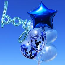 컨페티 헬륨풍선 8입 보이블루 (퀵배송)