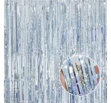 파티커튼(홀로그램실버) 글리터 수술 은박커튼 생일파티 메탈릭 반짝이