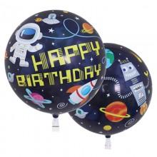 퀄라텍스 싱글버블 55cm 생일우주비행사 투명풍선
