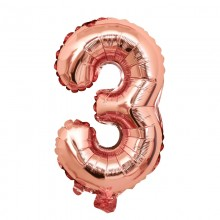 숫자호일3(로즈골드/소) 은박호일 소형 이니셜 풍선