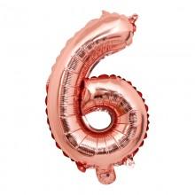 숫자호일6(로즈골드/소) 은박호일 소형 이니셜 풍선