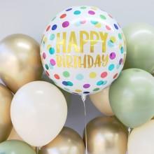 아나그램 오브풍선 생일해피도트 홈파티 장식 은박 호일 헬륨풍선