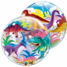 퀄라텍스 싱글버블 55cm 다이노서 투명 공룡풍선 생일파티