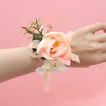 꽃팔찌 블루밍로즈(피치) 브라이덜샤워꽃팔찌 브라이덜파티 소품