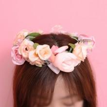 화관 팬시로즈(피치) 셀프 웨딩화관 브라이덜샤워소품 꽃화관 스냅촬영 헤어소품