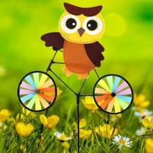 정원용바람개비 자전거타는부엉이(갈색) 어린이집꾸미기 캠핑바람개비 정원장식