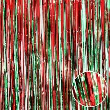 파티커튼(레드+그린) 글리터 수술 은박커튼 생일파티 메탈릭 반짝이