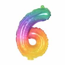 숫자호일6 레인보우 소형 은박 칼라 숫자풍선