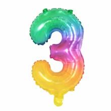 숫자호일3 레인보우 소형 은박 칼라 숫자풍선