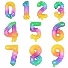 레인보우 숫자풍선 소형 생일풍선